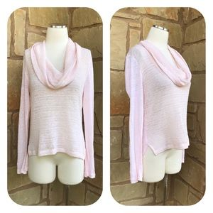Sanctuary Clothing Pink Cowl Neck Linen Sweater L